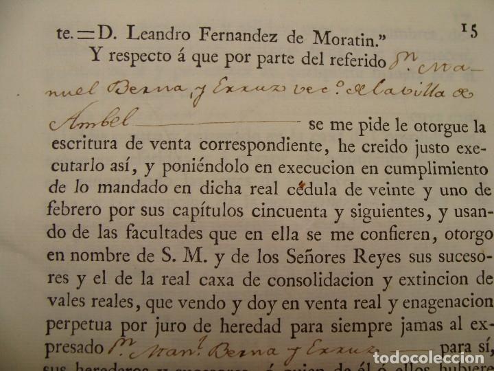 Manuscritos antiguos: MUY RARO. DESAMORTIZACIÓN 1808. VILLA DE AMBEL. LEANDRO FERNANDEZ MORATIN. ALBETA. ZARAGOZA - Foto 12 - 125419211