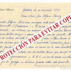 Manuscritos antiguos: CARTA ORIGINAL MANUSCRITA Y FIRMADA POR ANTONIO VILLACIEROS DIRIGIDA AL CRÍTICO DE ALFONSO SÁNCHEZ. Lote 125707371