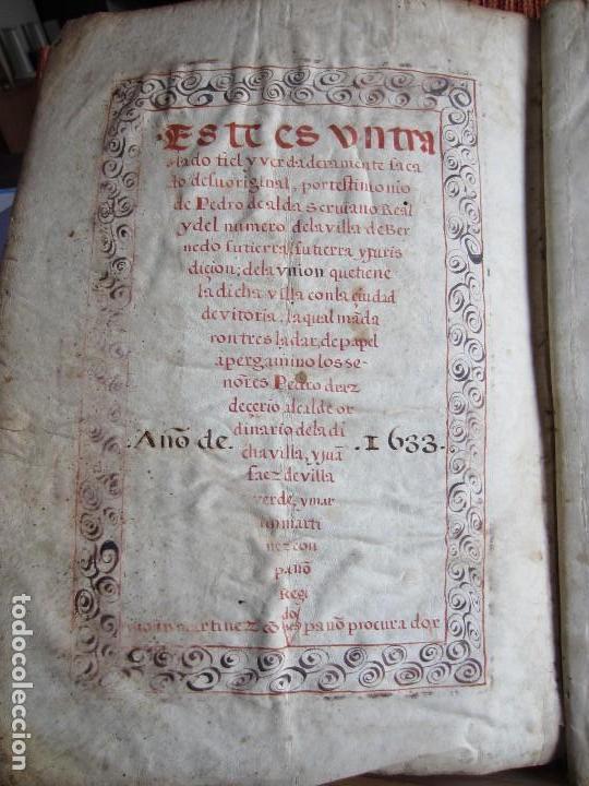 Manuscritos antiguos: 1633-CARTA DE UNIÓN DE LA VILLA DE BERNEDO CON LA CIUDAD DE VITORIA.ÚNICO.COMPLETO EN PERGAMINO. - Foto 5 - 125906095