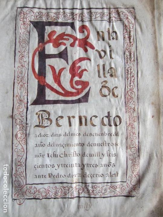 1633-CARTA DE UNIÓN DE LA VILLA DE BERNEDO CON LA CIUDAD DE VITORIA.ÚNICO.COMPLETO EN PERGAMINO. (Coleccionismo - Documentos - Manuscritos)