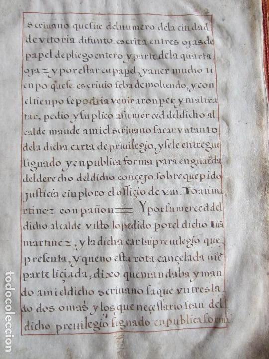 Manuscritos antiguos: 1633-CARTA DE UNIÓN DE LA VILLA DE BERNEDO CON LA CIUDAD DE VITORIA.ÚNICO.COMPLETO EN PERGAMINO. - Foto 7 - 125906095
