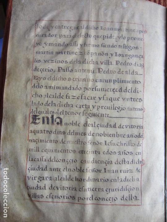 Manuscritos antiguos: 1633-CARTA DE UNIÓN DE LA VILLA DE BERNEDO CON LA CIUDAD DE VITORIA.ÚNICO.COMPLETO EN PERGAMINO. - Foto 8 - 125906095