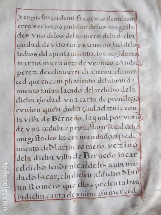 Manuscritos antiguos: 1633-CARTA DE UNIÓN DE LA VILLA DE BERNEDO CON LA CIUDAD DE VITORIA.ÚNICO.COMPLETO EN PERGAMINO. - Foto 9 - 125906095