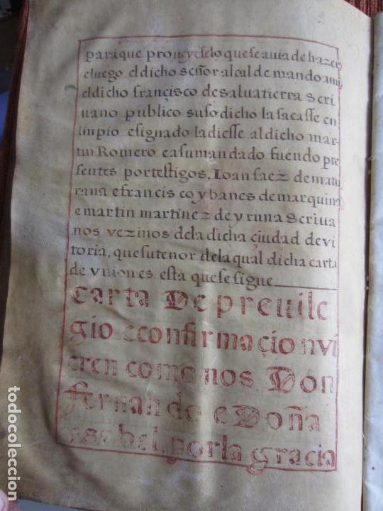 Manuscritos antiguos: 1633-CARTA DE UNIÓN DE LA VILLA DE BERNEDO CON LA CIUDAD DE VITORIA.ÚNICO.COMPLETO EN PERGAMINO. - Foto 10 - 125906095