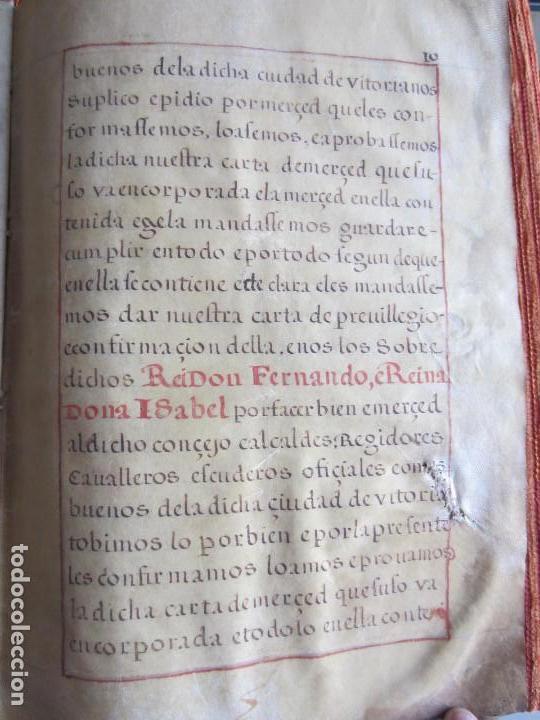 Manuscritos antiguos: 1633-CARTA DE UNIÓN DE LA VILLA DE BERNEDO CON LA CIUDAD DE VITORIA.ÚNICO.COMPLETO EN PERGAMINO. - Foto 14 - 125906095