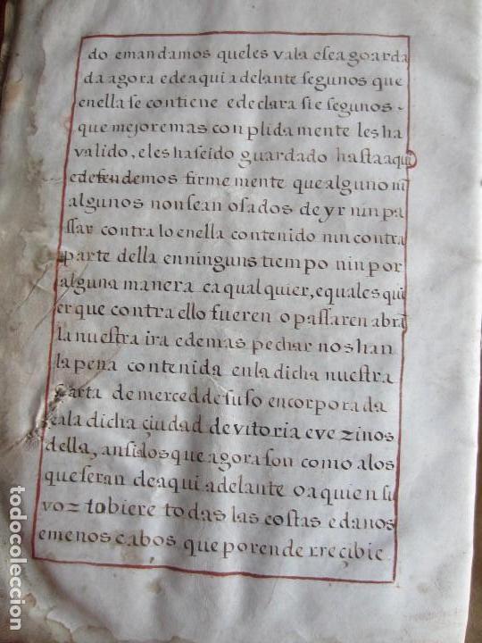 Manuscritos antiguos: 1633-CARTA DE UNIÓN DE LA VILLA DE BERNEDO CON LA CIUDAD DE VITORIA.ÚNICO.COMPLETO EN PERGAMINO. - Foto 15 - 125906095