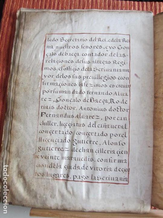 Manuscritos antiguos: 1633-CARTA DE UNIÓN DE LA VILLA DE BERNEDO CON LA CIUDAD DE VITORIA.ÚNICO.COMPLETO EN PERGAMINO. - Foto 17 - 125906095