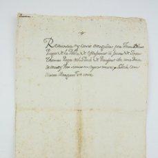 Manuscritos antiguos: DOCUMENTO MANUSCRITO EN CATALÁN, VECINO DE POBLA MAFUMET - CESIÓN DE TIERRA EN PERAFORT - AÑO 1685. Lote 126031387