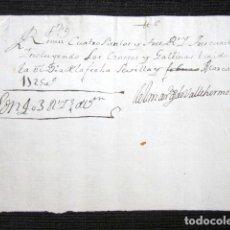 Manuscritos antiguos: AÑO 1725. GERENA, SEVILLA. RECIBO FIRMADO MARQUÉS VALLEHERMOSO DE CONEJOS Y GALLINAS 403 REALES . Lote 126330007