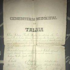 Manuscritos antiguos: ANTIGUO DOCUMENTO MANUSCRITO CEMENTERIO TALIGA BADAJOZ COMPRA NICHO 1914. Lote 126602723