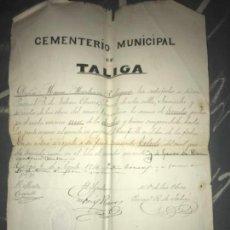 Manuscritos antiguos: ANTIGUO DOCUMENTO MANUSCRITO CEMENTERIO TALIGA BADAJOZ COMPRA NICHO 1914. Lote 126602739