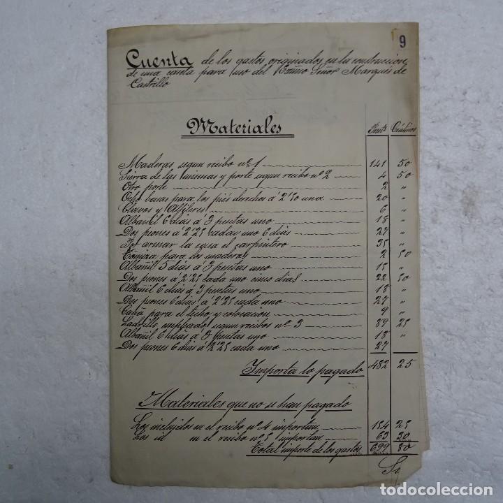 MANUSCRITO GASTOS CONSTRUCCION CASETA MARQUES DE CASTRILLO CALLE FERNANDO EL SANTO MADRID (Coleccionismo - Documentos - Manuscritos)