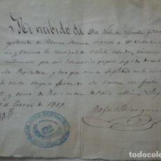 Manuscritos antiguos: SEGORBE. CASTELLÓN. NOTARIA VELAZQUEZ. 1868. RECIBO HONORARIOS.. Lote 126678491