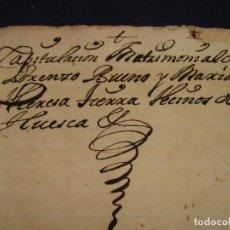 Manuscrits anciens: SELLO 1º 1716, TIMBRE. CAPITULACIÓN MATRIMONIAL DERECHO FORAL ARAGONÉS. HUESCA.. Lote 126978763