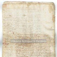 Manuscritos antiguos: [MANUSCRITO. DOCUMENTO DE VENTA DE LA NOTARIA DE PALAMÓS, 1497 + COPIA DEL S.XVIII Y 1806]. Lote 127942503