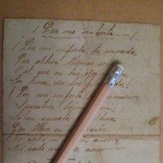 Manuscritos antiguos: POEMA MANUSCRITO, SONETO, INÉDITO. SIGLO XIX. ROMANTICISMO. POESÍA. Lote 127961419