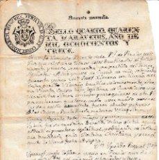 Manuscritos antiguos: 1813 PERALES DE ALFAMBRA (TERUEL) DOCUMENTO MANUSCRITO FISCAL 4º CERTIFICADO BAUTISMO SELLO PAPEL. Lote 128480943