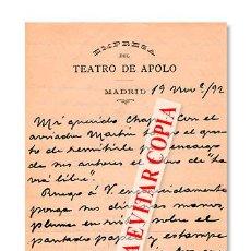 Manuscritos antiguos: TEATRO APOLO. CARTA MANUSCRITA Y FIRMADA DE ENRIQUE ARREGUI DIRIGIDA A RUPERTO CHAPÍ. 1892. Lote 129200858