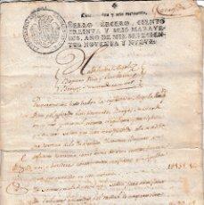 Manuscritos antiguos: 1799 NAVA DEL REY (VALLADOLID). SELLO FISCAL 3º 136 MRS DOCUMENTO TIMBRADO PAPEL SELLADO. CARLOS IV. Lote 129376159