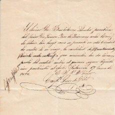 Manuscritos antiguos: 1853 VALENCIA PAGARE REALIZADO POR X BARON DE ALCAHALI GINEM RUIZ DE LIHORI AHORA IZCO DE QUINCOCES. Lote 129662347