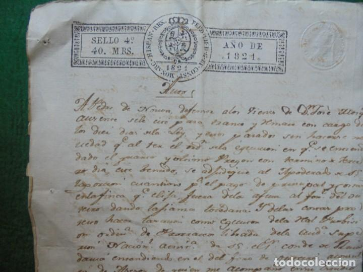 DOCUMENTO EN PAPEL TIMBRADO,SELLO DE 40 MARAVEDIS,AÑO 1821, 1 PLIEGOS , MARCA DE AGUA Y FIRMADO (Coleccionismo - Documentos - Manuscritos)