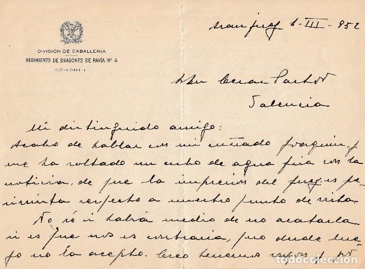 1952 ARANJUEZ. CARTA MEMBRETE REGIMIENTO DRAGONES DE PAVIA 4 CORONEL LUIS OCHOTORENA SANCHEZ FIRMA (Coleccionismo - Documentos - Manuscritos)