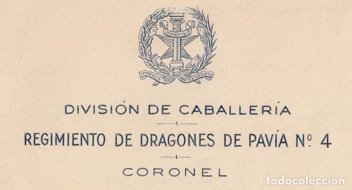 Manuscritos antiguos: 1952 ARANJUEZ. CARTA MEMBRETE REGIMIENTO DRAGONES DE PAVIA 4 CORONEL LUIS OCHOTORENA SANCHEZ FIRMA - Foto 2 - 130263916