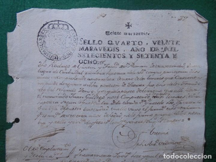 CARLOS III DOCUMENTO EN PAPEL TIMBRADO,SELLO CUARTO,20 MARAVEDIS,AÑO 1778, 1 PLIEGO,FIRMADO (Coleccionismo - Documentos - Manuscritos)