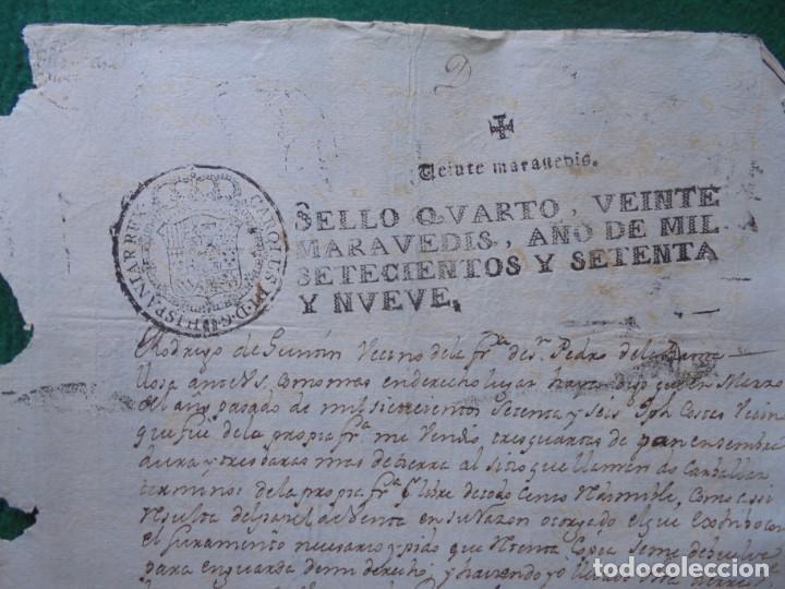CARLOS III DOCUMENTO EN PAPEL TIMBRADO,SELLO CUARTO,20 MARAVEDIS,AÑO 1779, 1 PLIEGO,FIRMADO (Coleccionismo - Documentos - Manuscritos)