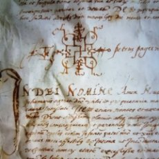 Manuscritos antiguos: MANUSCRITO DE PERGAMINO AÑO 1573 SIGLO XVI. Lote 131573258
