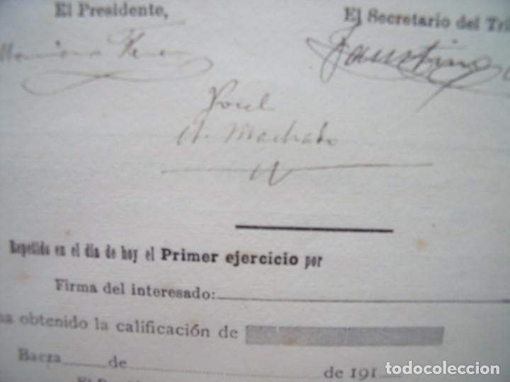 ANTONIO MACHADO.-FIRMA MANUSCRITA.-CALIFICACION DE NOTAS.-JUAN MARTINEZ BIEDMA.-UBEDA.-AÑO 1916. (Coleccionismo - Documentos - Manuscritos)