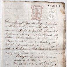 Manuscrits anciens: CASTELLTEROL (BARCELONA) 1875 - CAPÍTULACIONES -SELLO FISCAL 5ª CLASE 8 PESETAS Y 11ª CLASE 50 CENT.. Lote 132751662