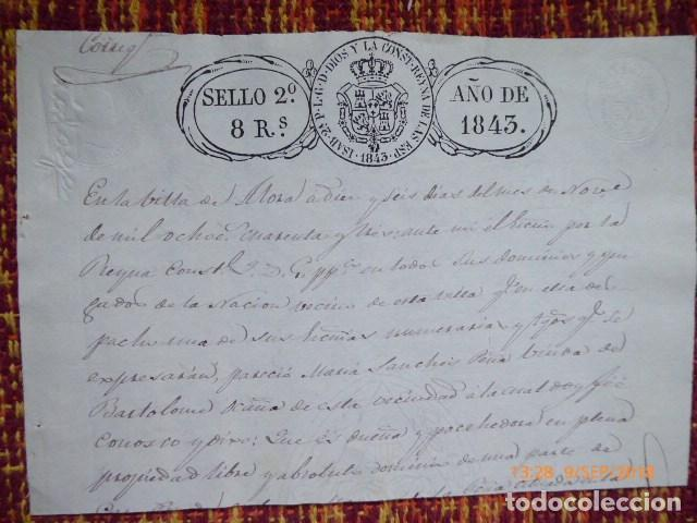 FRACCION DE UN TITULO CON SELLOS DE 1843, (Coleccionismo - Documentos - Manuscritos)