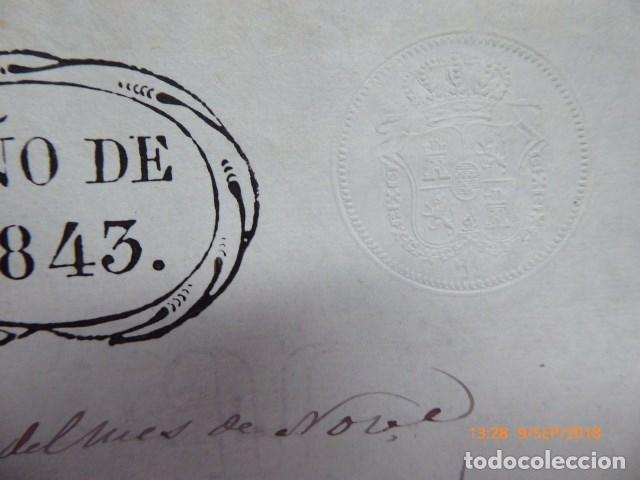 Manuscritos antiguos: fraccion de un titulo con sellos de 1843, - Foto 3 - 133079482
