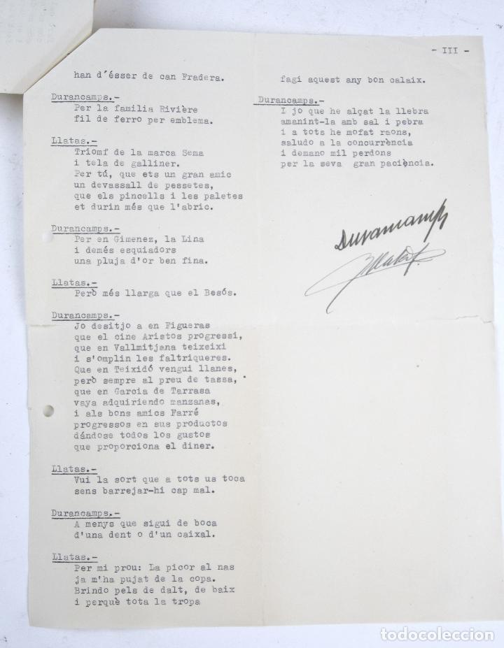 RAFAEL DURANCAMPS (1891-1979) DISCURSO ESCRITO Y FIRMADO POR EL PINTOR. 3 HOJAS. (Coleccionismo - Documentos - Manuscritos)
