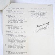 Manuscritos antiguos: RAFAEL DURANCAMPS (1891-1979) DISCURSO ESCRITO Y FIRMADO POR EL PINTOR. 3 HOJAS.. Lote 133300826