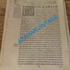 Manuscritos antiguos: 1764, PREEMINENCIAS QUE DEBE GOZAR EL SUPERINTENDENTE GENERAL DE CORREOS Y POSTAS, MARQUES DE GRIMAL. Lote 134162206