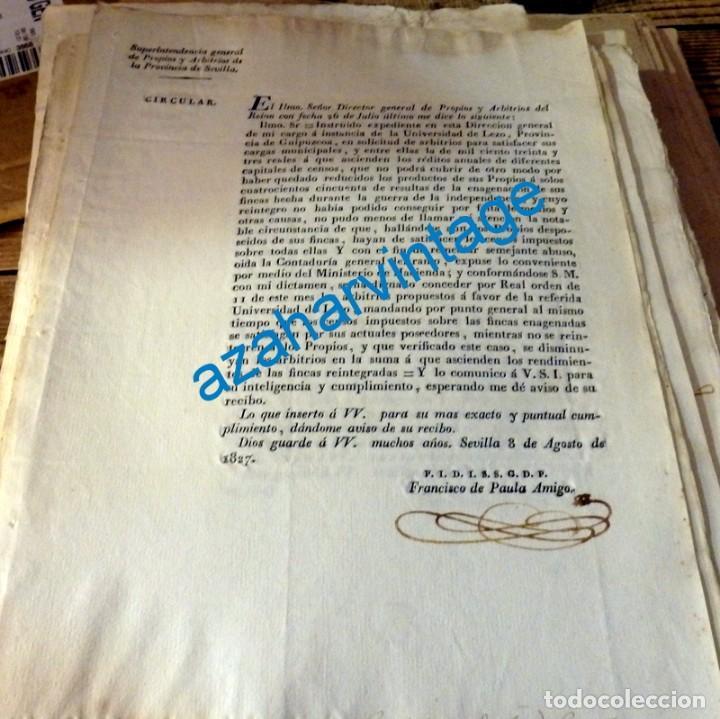1827, CIRCULAR SOBRE LOS ARBITRIOS DE LA UNIVERSIDAD DE LEZO, GUIPUZCOA, 1 PAGINA (Coleccionismo - Documentos - Manuscritos)