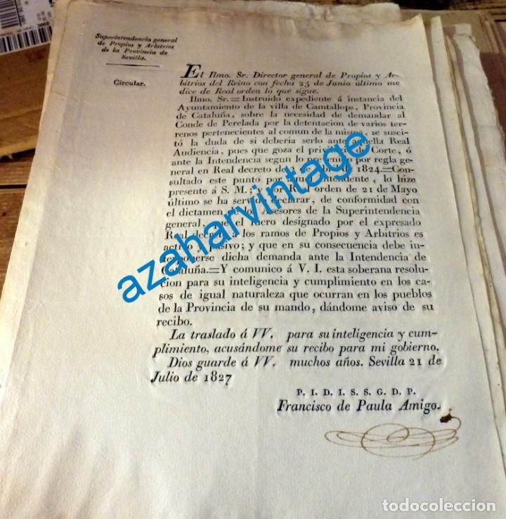 1827, CIRCULAR SOBRE DEMANDA DEL MUNICIPO DE CANTALLOPS AL CONDE DE PERELADA, 1 PAGINA (Coleccionismo - Documentos - Manuscritos)