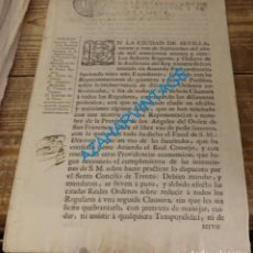 Manuscritos antiguos: SEVILLA. ORDEN QUE OBLIGA REDUCIR A CLAUSURA A LOS CLÉRIGOS REGULARES. 28 DE SEPTIEMBRE DE 1767. Lote 134594586