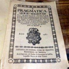 Manuscritos antiguos: 1762, REAL PRAGMATICA PARA QUE NO SE PUBLIQUE BULA O CARTA PONTIFICIA SIN EL VºBº DE SU MAJESTAD. Lote 134655938