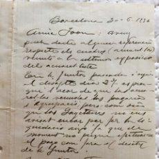 Manuscritos antiguos: CARTA DEL PINTOR LLUIS ROIG ENSEÑAT (1870-1949) AL PINTOR JOAN FORT GALCERÁN. Lote 135516758