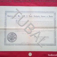 Manuscritos antiguos: TUBAL 1920 ESPERA TITULO PRIMA TONSURA ALMARAZ SANTOS A CLERIGO DE ESPERA 400 GRS. Lote 135793886