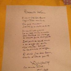 Manuscritos antiguos: MANUSCRITO 1989 POETA RAFAEL ALBERTI POEMA MENCIÓN A DALÍ Y LUIS BUÑUEL TOLEDO. Lote 136802738