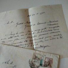 Manuscritos antiguos: CARTA A MANO ORIGINAL ESCRITA Y FIRMADA POR JOSE OLIVET LEGARES,PINTOR OLOT+SOBRE. Lote 136824706