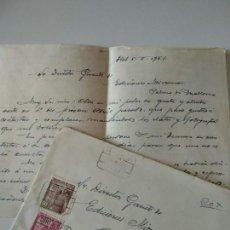 Manuscritos antiguos: CARTA A MANO ORIGINAL ESCRITA Y FIRMADA POR JOSE OLIVET LEGARES,PINTOR OLOT+SOBRE. Lote 136824742