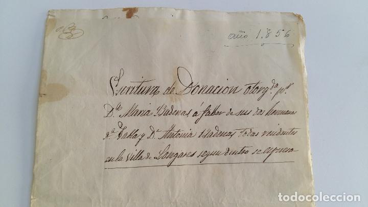 ANTIGUO MANUSCRITO. ESCRITURA DONACION. SELLO FISCAL 1855. LONGARES ZARAGOZA (Coleccionismo - Documentos - Manuscritos)