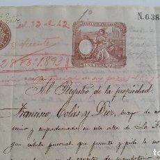 Manuscritos antiguos: DOCUMENTO MANUSCRITO. HERENCIA. TIMBRE FISCAL 1893. LA ALUMINIA ZARAGOZA. Lote 137630206