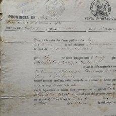 Manuscritos antiguos: NOTIFICACION DE VENTA DE BIENES NACIONALES EN SALAMANCA AÑO 1860 APROX.. Lote 138057482