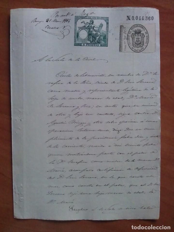 1884 CUESTIÓN HEREDITARIA - BURGOS (Coleccionismo - Documentos - Manuscritos)